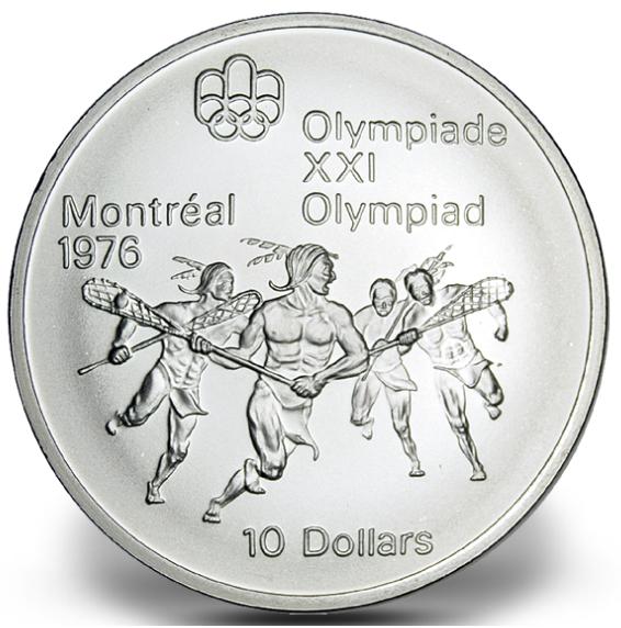 1976 - #09 (1974) - $10 - Pièce en argent sterling, Jeux olympiques d'été à Montréal, La crosse