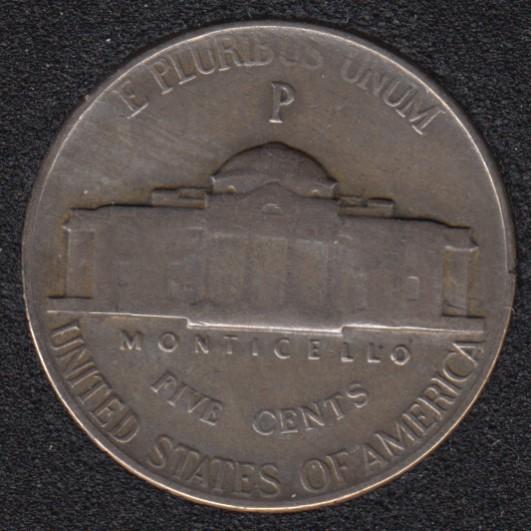1943 P - Jefferson - Wartime Silver - 5 Cents