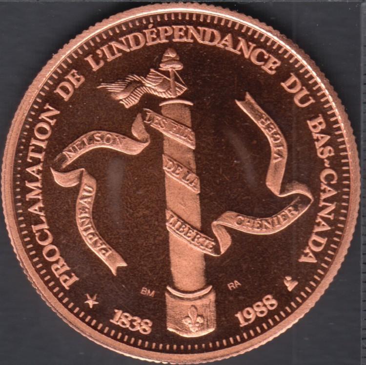 Quebec - Epicerie J.A. Moisan - 1988 - 1838 - Proclamation de l'indépendance du Bas Canada - Valeur 1 Écu au Magasin