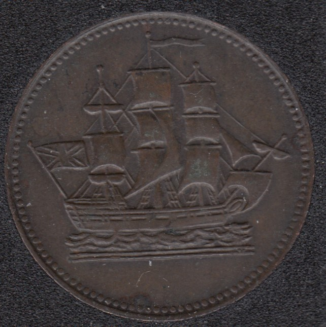 P.E.I. 1835 - Ship Colonies & Commerce - Half Penny Token - PE-10-28