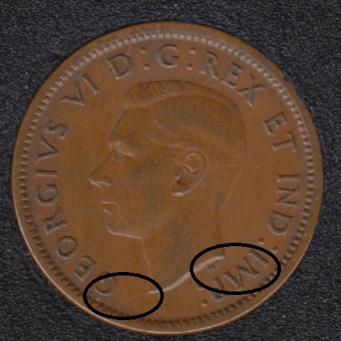 1940 - Break Bust to Rim & to HP to IMP - Canada Cent