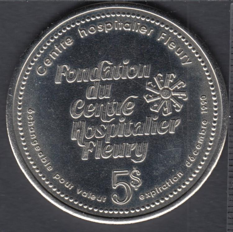 Montreal - 1988 - 25° Ann. Fondation du Centre Hôspitalier Fleury - $5 Trade Dollar