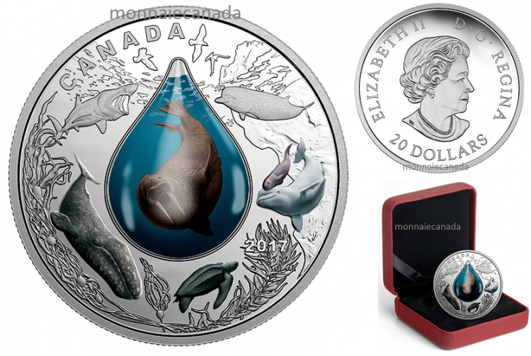 2017 - $20 - 1 oz. Pure Silver Coin – Canadian Underwater Life