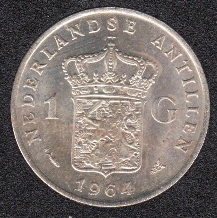 1964 - 1 Gulden - Fish & Star - Argent - Pays Bas Antilles