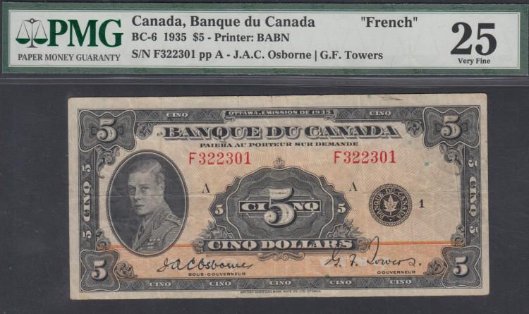 1935 $5 Dollars - VF 25 - Osborne Towers - Francais - PMG