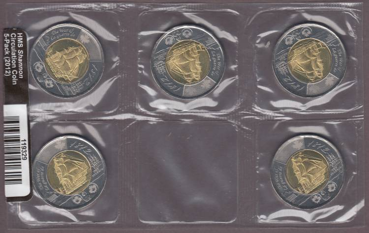 2012 Canada Deux Dollars HMS Shannon - Pack of 5 Circulation Sealed Coins