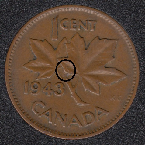 1943 - Dot on ML - Canada Cent
