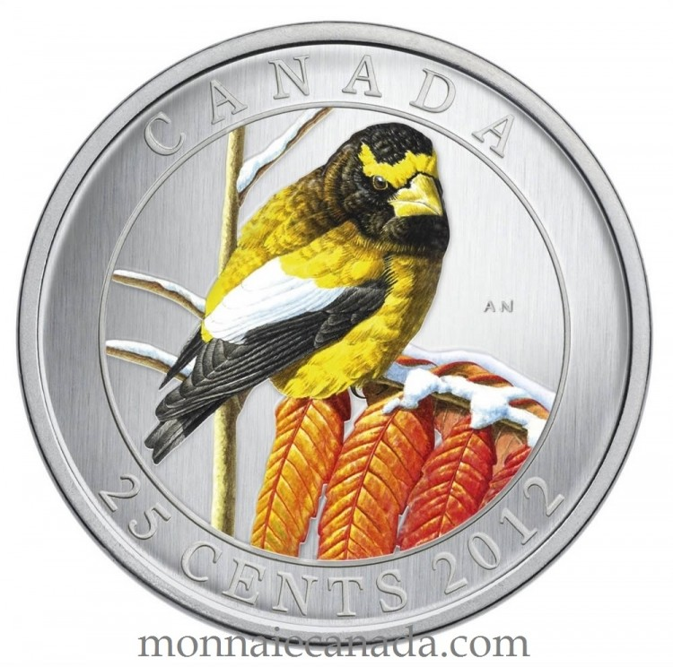 2012 - Evening Grosbeak - 25-Cent Coloured Coin