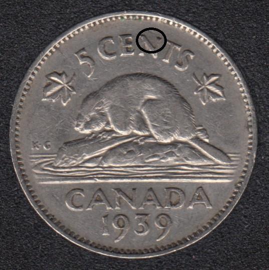 1939 - Die Break in N - Canada 5 Cents