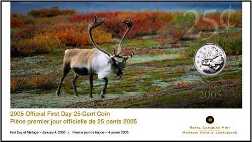 2005 PREMIER JOUR OFFICIELLE DE LA PIECE DE 25 CENTS
