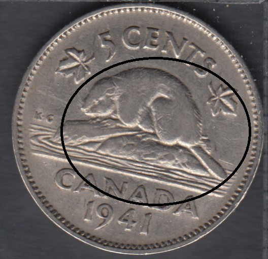 1941 - Bald Beaver - Canada 5 Cents