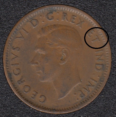 1942 - Break T to Rim - Canada Cent
