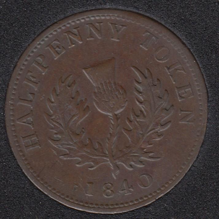 N.S. 1840 Half Penny Token - Medium '0' - VF - NS-1E2