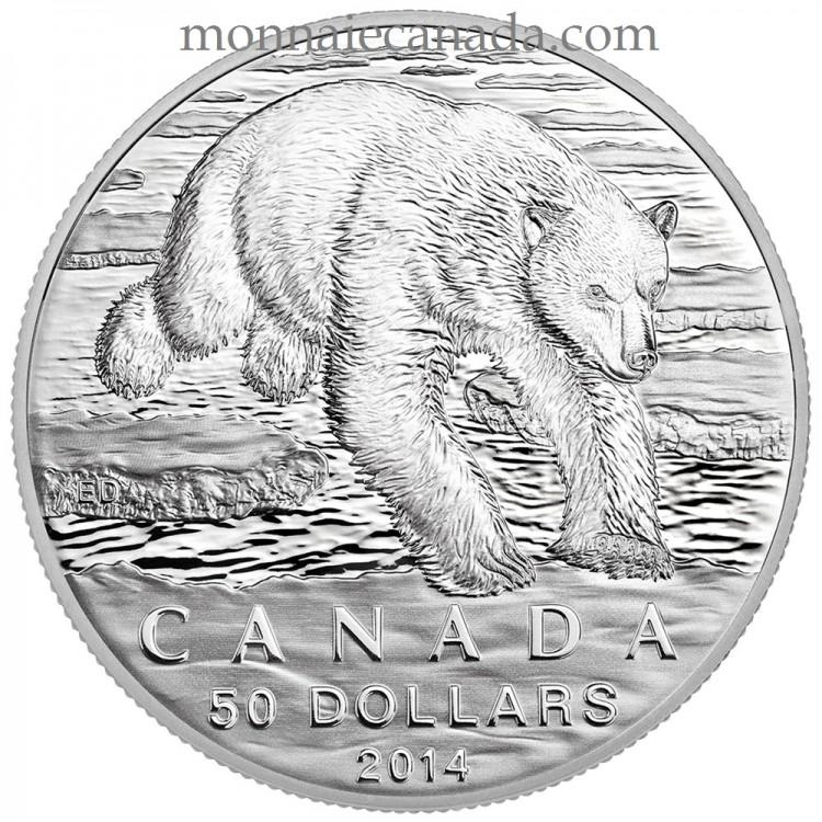 2014 - $50 - Pièce en argent fin de - L'ours polaire