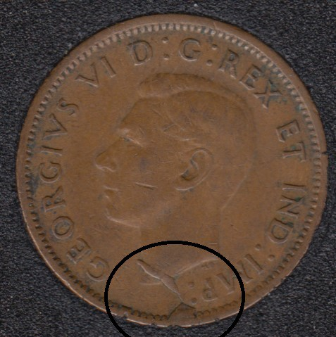 1944 - Xtra Metal Planchet Flaw - Canada Cent