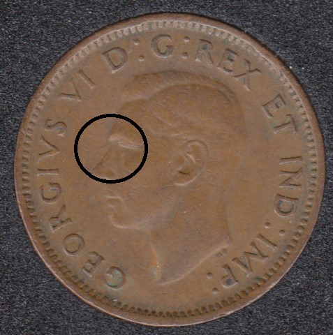 1943 - Planchet Flaw - Canada Cent
