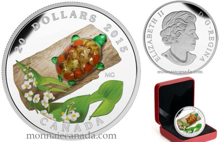 2015 - $20 - 1 oz argent fin – Tortue en verre vénitien et fleur de la sagittaire à larges feuilles
