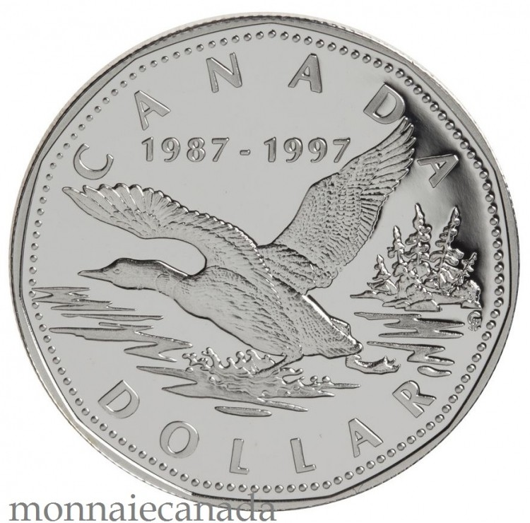 1997 Proof 10th Anniversary Flying Loon Silver $1