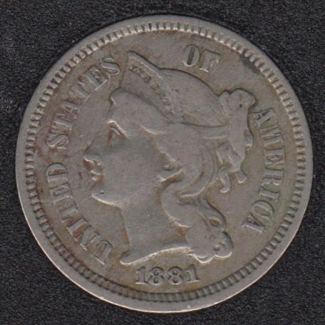 1881 - Nickel 3 Cents