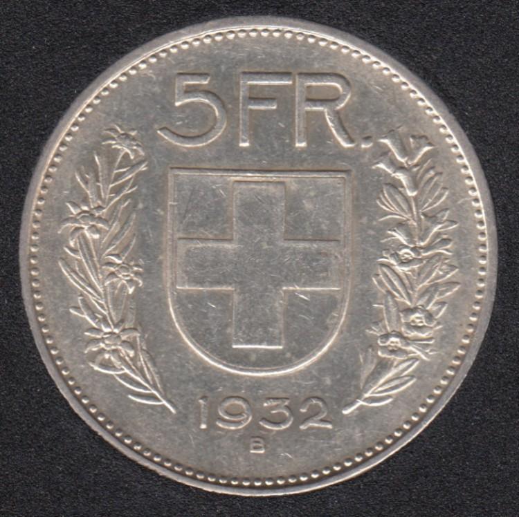 1932 B - 5 Francs - Switzerland