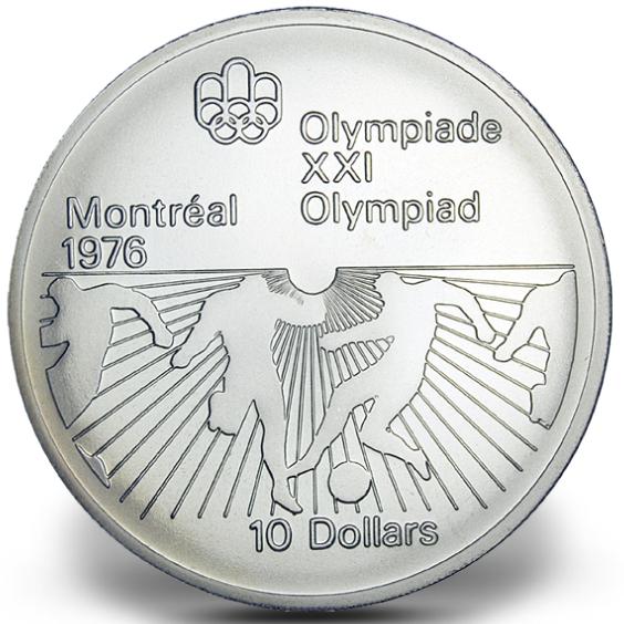 1976 - #23 - $10 - Pièce en argent sterling, Jeux olympiques d'été à Montréal, Le soccer
