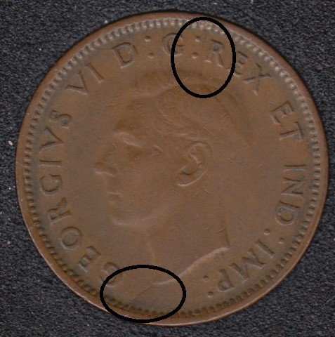 1942 - Break Bust to Rim - Head to Rim - Canada Cent