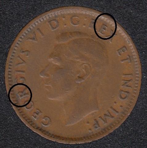 1943 - Break E & R to Rim - Canada Cent