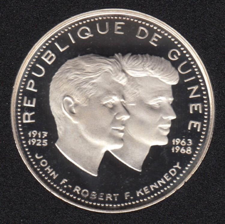 Guinée - 1970 - 200 Francs - John F & Robert Kennedy - Argent Fin -Guinée