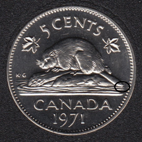 1971 - B.Unc - Queue a Ligne D'eau - Canada 5 Cents