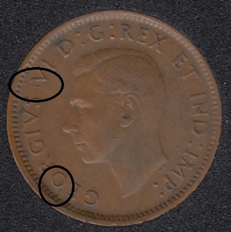 1943 - Break O to Rim - Break Between S & V - Canada Cent