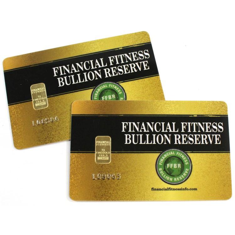 1 Gram Financial Fitness Bullion Reserve - Gold Wafer Bar - Card - No Tax
