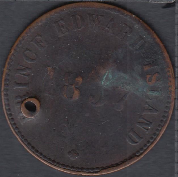 P.E.I. 1857 Self Government and Free Trade - Holed - PE-7C