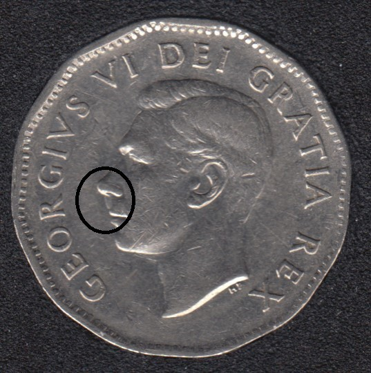 1950 - Dot on Nose - Canada 5 Cents