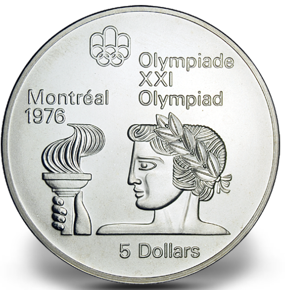1976 - #06 (1974) - $5 - Sterling Silver Coin, Montreal Summer Olympic Games, Athlete with Torch