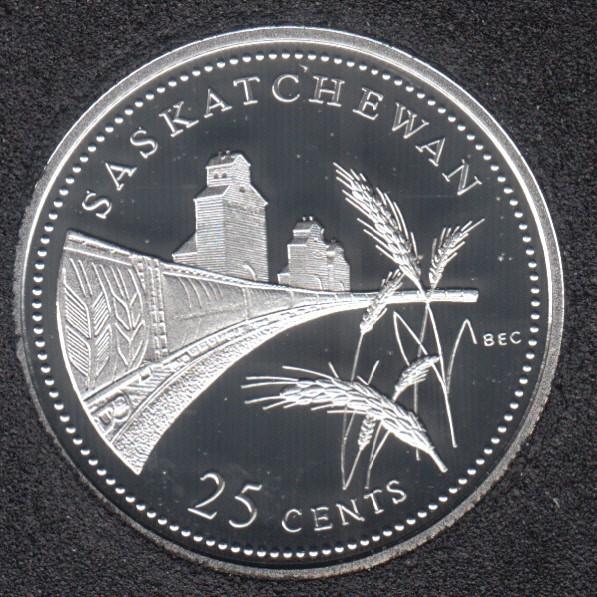 1992 - #911 Proof - Silver - Saskatchewan - Canada 25 Cents