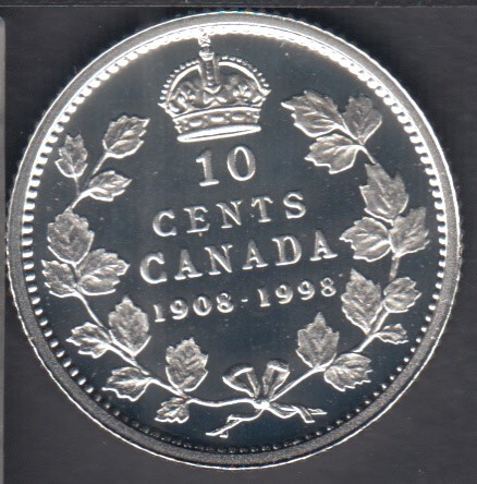 1998 - 1908 - Proof - Argent - Canada 10 Cents