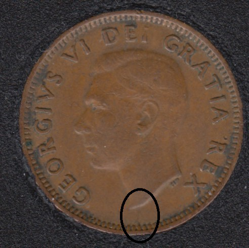 1951 - Break Bust to Rim & Dot on ML - Canada Cent