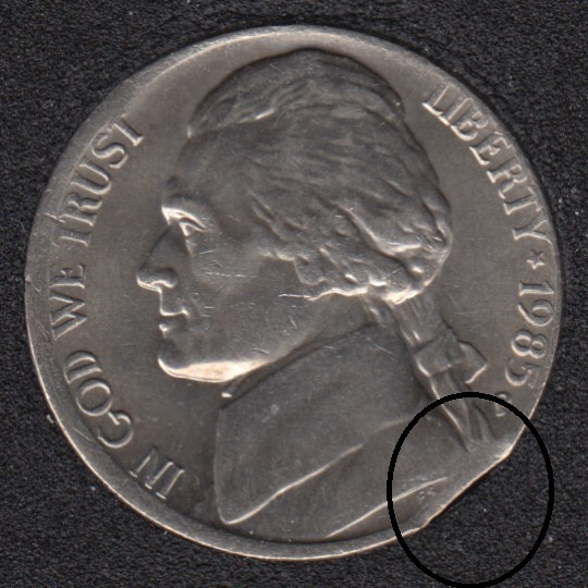 1985 D - Clip - Jefferson - 5 Cents