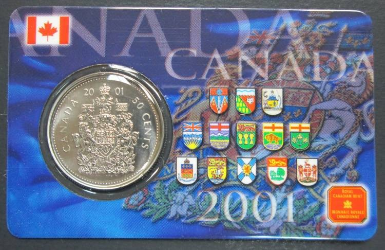2001 P Canada 50 Cents Coat of Arms - Card