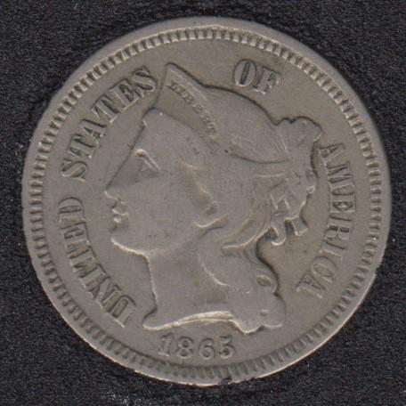 1865 - Nickel 3  Cents