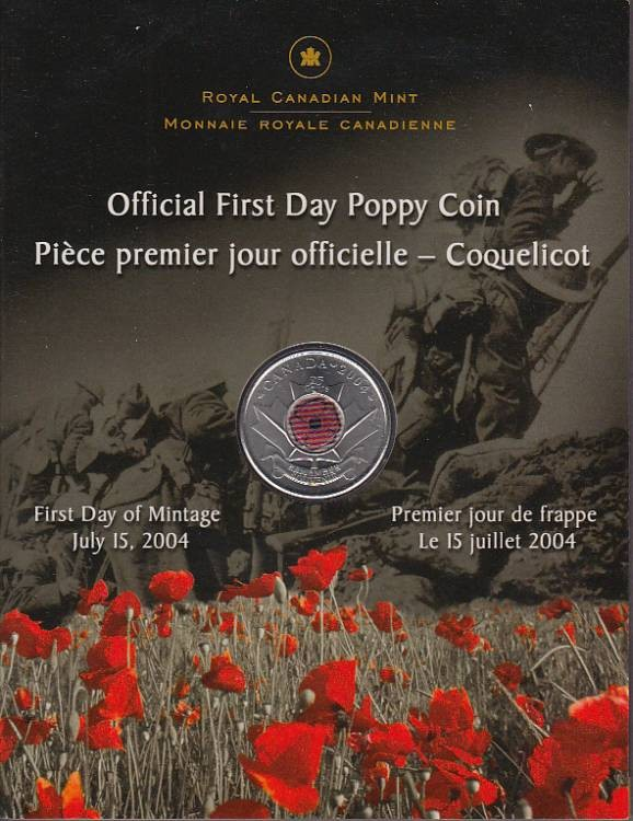 2004 Official First Day Poppy 25 Cent Coloured
