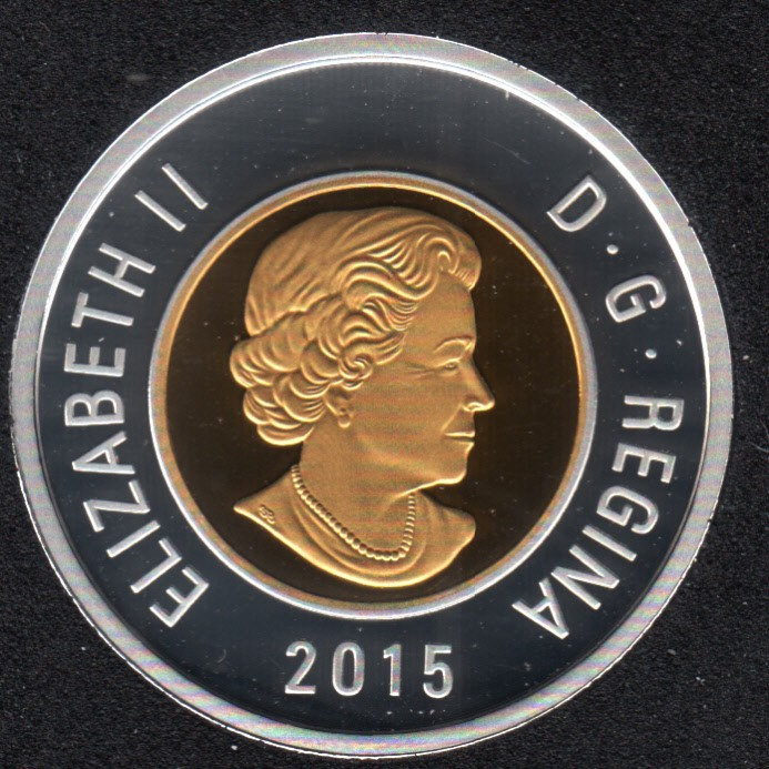 2015 - Proof - Argent Fin - Plaqué Or - Canada 2 Dollar
