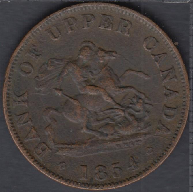 P.C. 1854 Bank of Upper Canada Half Penny PC-5C1