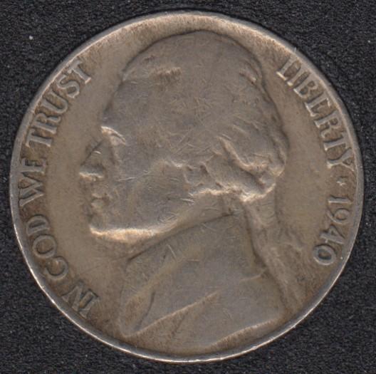1940 D - Jefferson - 5 Cents