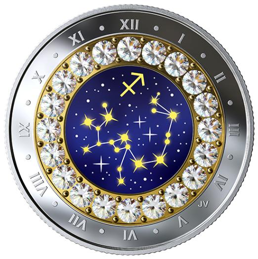 2019 - $5 - Pièce en argent pur rehaussée de cristaux Swarovskiᴹᴰ – Signes du zodiaque : Sagittaire