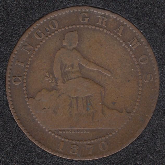 1870 - 5 Centimos - Espagne