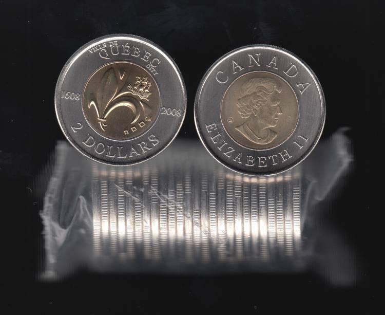 1608 2008 Canada $2 Dollars  - 400th Quebec - BU Roll 25 Coins - UNC