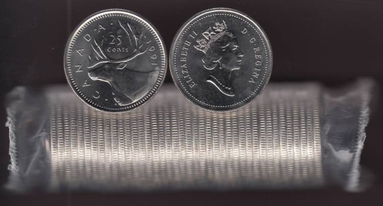 1991 Canada 25 Cents Caribou - BU ROLL 40 Coins - UNC - RARE