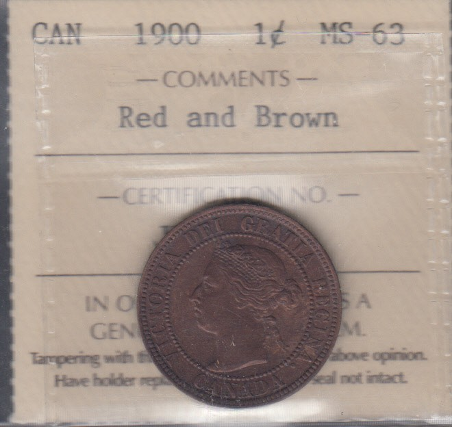 1900 - ICCS - MS 63 - Red & Brown - Canada Large Cent - CALL TO ORDER