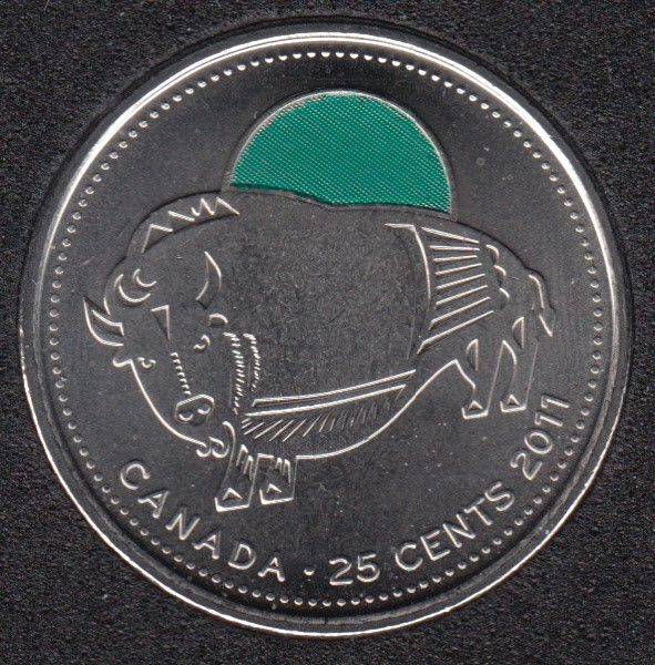 2011 - B.Unc - Bison Col. - Canada 25 Cents